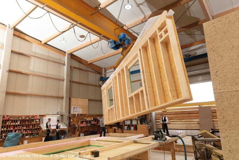 Hausbau Holzhaus Holzbau Vorfertigung Außenwand Zimmerei Mohr Leutershausen