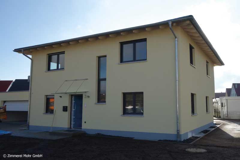 Einfamilienhaus CUBE – Neubau Holzhaus mit Putzfassade Herrieden