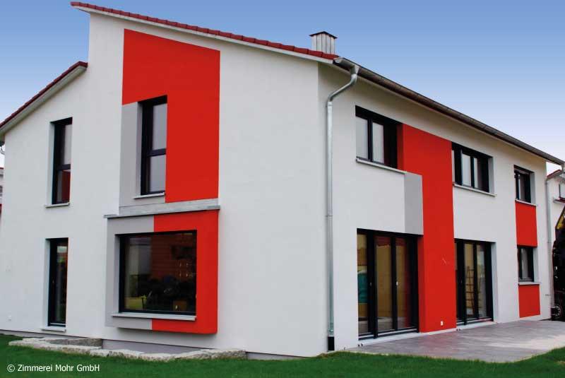 Einfamilienhaus MODERN – Holzhaus mit Panoramafenster Sitzfenster und Hobbykeller