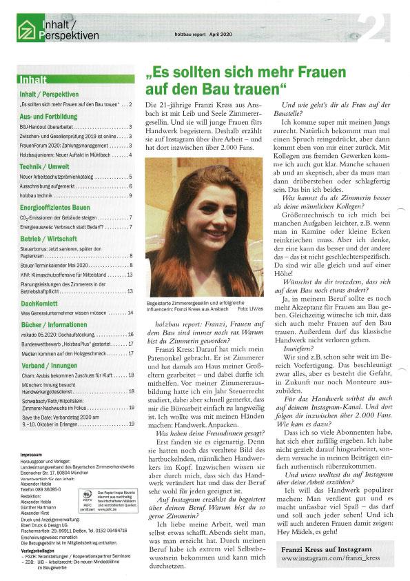 Frauen im Handwerk Zimmerergesellin Franziska Kress holzbau report April 2020 Landesinnung Zimmererhandwerk Interview